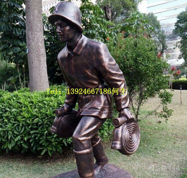 消防员雕塑|玻璃钢人像雕塑厂家