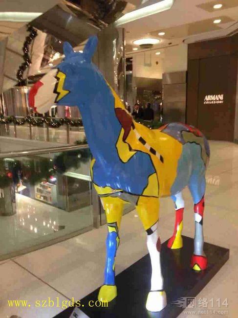 彩绘骏马玻璃钢雕塑