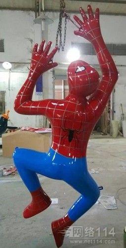 动漫人物蜘蛛侠玻璃钢雕塑