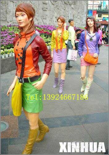 购物广场人物雕塑【玻璃钢纤维造型雕塑】