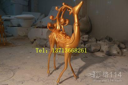 玻璃钢驯鹿雕塑【玻璃钢纤维动物雕塑】