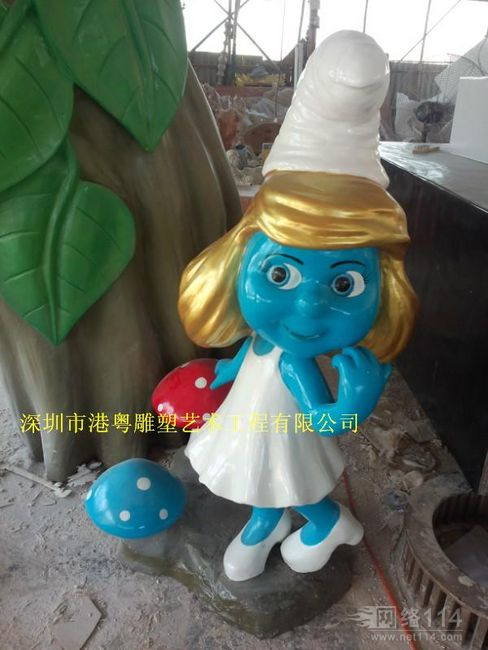 卡通蓝精灵玻璃钢雕塑