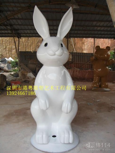 动物园白兔主题摆件玻璃钢雕塑【玻璃钢卡通纤维雕塑】