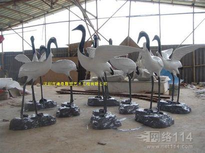 仿真白鹤玻璃钢雕塑【玻璃钢纤维动物雕塑】