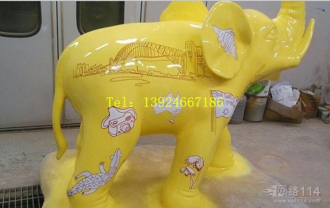 三色大象雕塑【玻璃钢动物纤维雕塑】