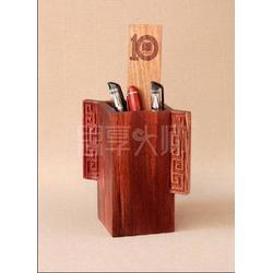 高档商务礼品、促销商务礼品、回纹花梨木笔筒