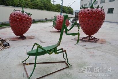 玻璃钢草莓雕塑|仿真草莓|大型草莓制作厂家