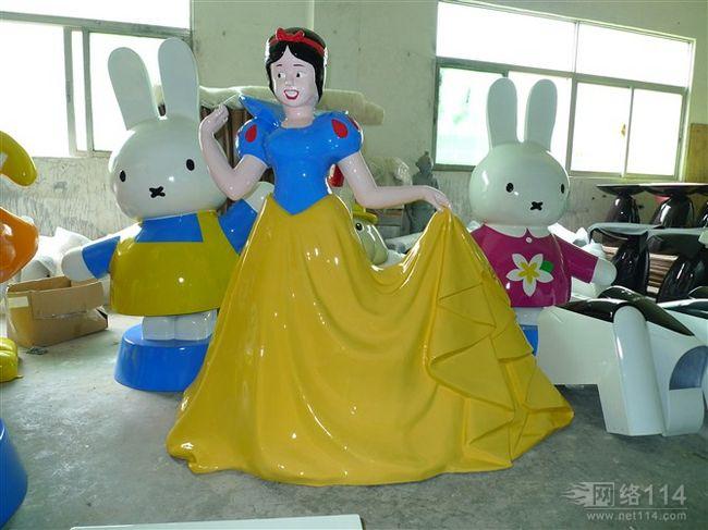 白雪公主,七个小矮人-玻璃钢卡通雕塑