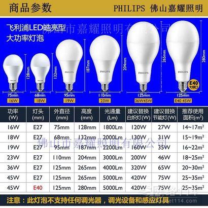 飞利浦皓亮LED大功率球泡36W 45W/6500K灯泡