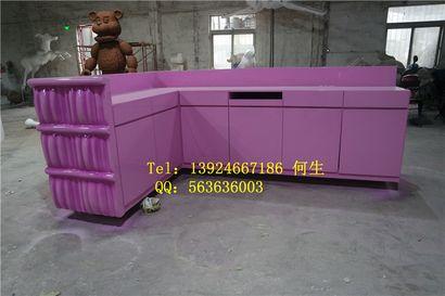 玻璃钢前台服务台定制【玻璃钢桌椅纤维雕塑】