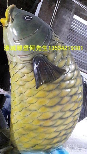 深圳仿真海产品鲤鱼雕塑 玻璃钢淡水鱼雕塑