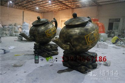 福建茶园装饰茶壶造型雕塑玻璃钢仿真大型茶壶雕塑图片