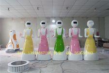 餐厅机器人迎宾雕塑【玻璃钢纤维机器人雕塑】