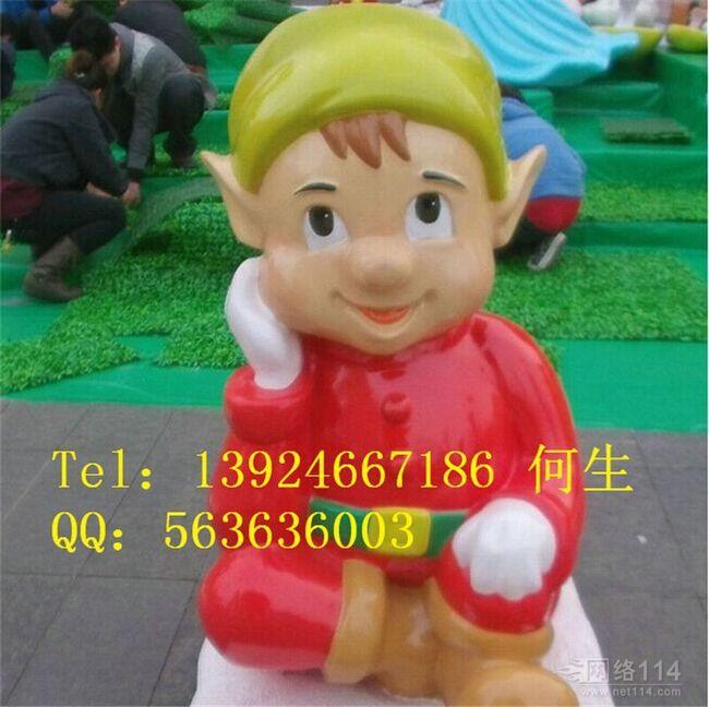小男孩小妖精雕塑【玻璃钢卡通纤维雕塑】