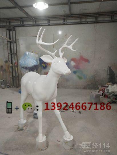 连锁酒店大堂装饰鹿雕塑玻璃钢吉祥物鹿定做