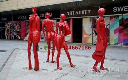 广州商业街人物雕像街头购物抽象人雕塑工厂