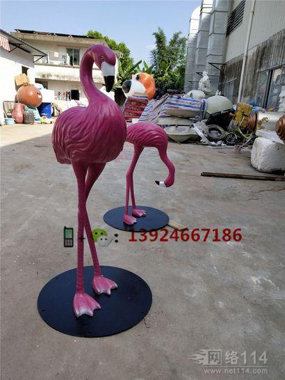 玻璃钢火烈鸟造型雕塑纤维装饰火烈鸟模型定做