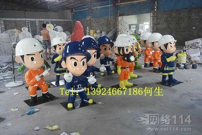 江苏小区景观消防人像卡通雕塑