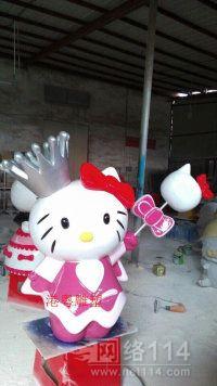 游乐场kt猫摆玻璃钢雕塑