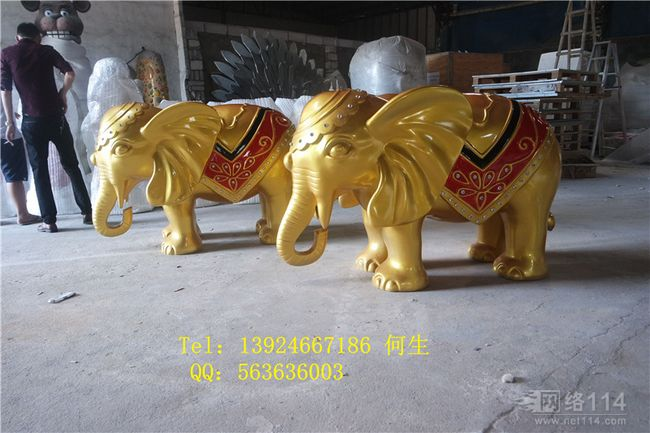 深圳楼盘吉祥物大象雕塑玻璃钢金色大象雕塑图片景观大象雕塑