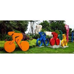 四川自行车不锈钢抽像烤漆雕塑