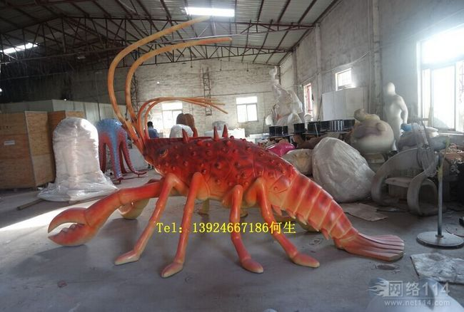 玻璃钢仿真海鲜造型雕塑大型螃蟹龙虾模型定做