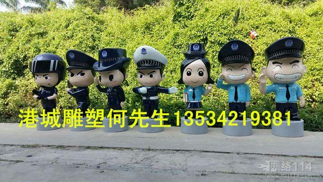 深圳交通警雕塑 玻璃钢卡通人物雕塑