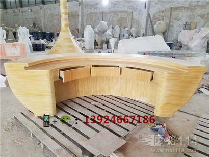 玻璃钢仿木柜台雕塑商场造型接待台定做