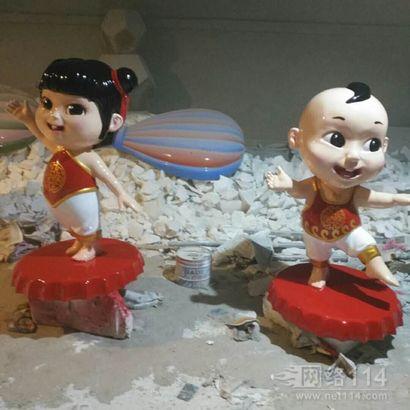 中国福娃雕塑玻璃钢景观大型福娃微笑吉祥物福娃雕塑厂家
