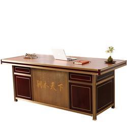 商业大班台单人现代简约总裁主管实木家具铜